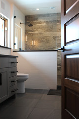 industrial farmhouse remodel. master bath