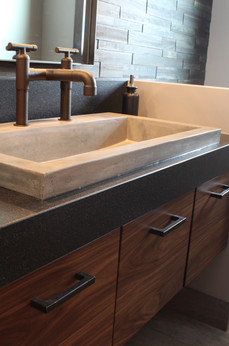 powder bath. industrial fittings. concrete trough sink. reclaimed wood wall treatment