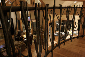 custom steel railing designed by molly scott | interior design