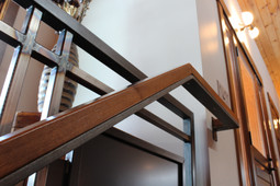 custom hot rolled steel railing. designed by molly scott   interior design. crafted by carlson sheet metal