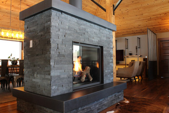 industrial farmhouse remodel. see through fireplace