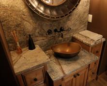 powder bath. rainforest marble. copper sink