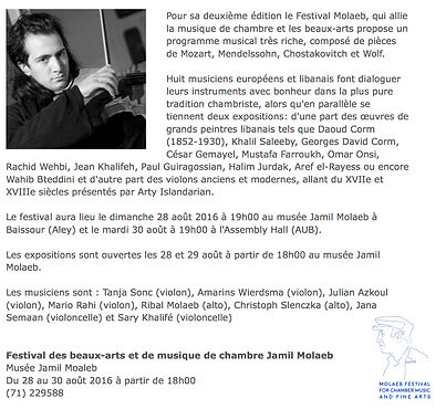 Molaeb Festival For Chamber Music And Fine Arts 2016