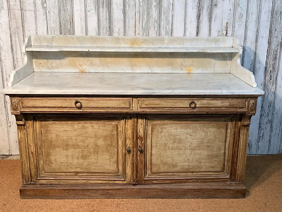 PINE AND SLATE TOPPED BUFFET WITH DECORATIVE CARVING