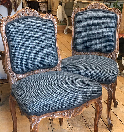 French chairs upholstered in houndstooth tweed fabric