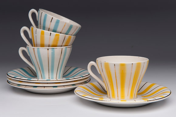 2 PAIRS of 1940s CHINA CUPS & SAUCERS