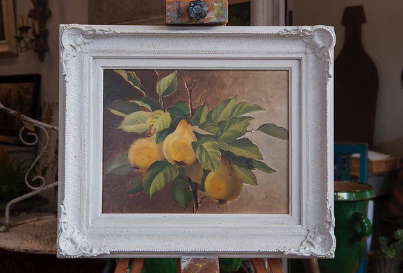 EARLY 20TH CENTURY OIL ON CANVAS BOARD PEARS signed T. Gray