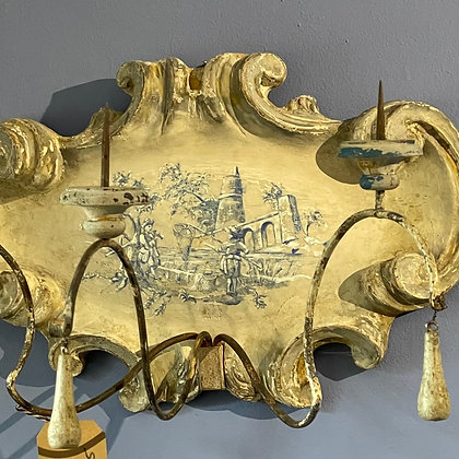 PAINTED SCONCE WITH A CHARMING FISHING SCENE AND 3 ARMS