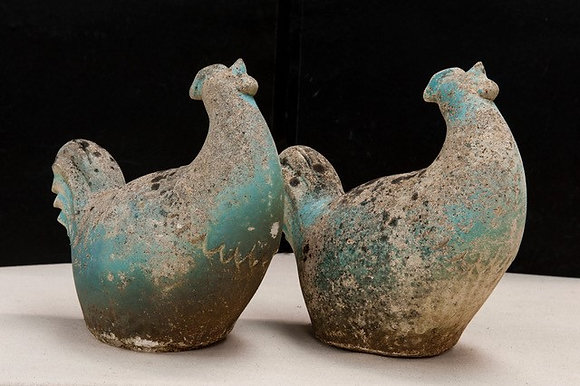 Pair of Stone Chickens