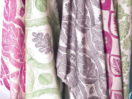 SELECTION OF HAND CARVED BLOCK PRINTED ORGANIC COTTON DRYING UP CLOTHS