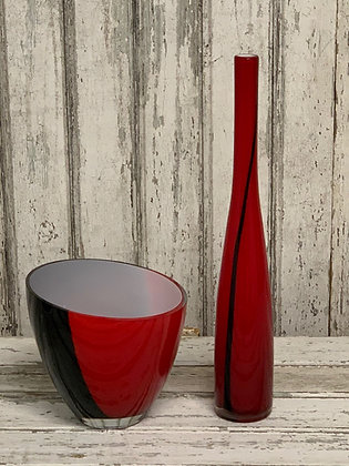 RED GLASS BOTTLE AND BOWL