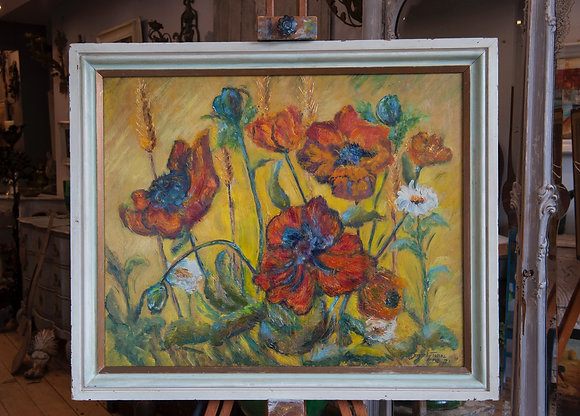 POPPIES OIL ON BOARD by Dorothy Twine
