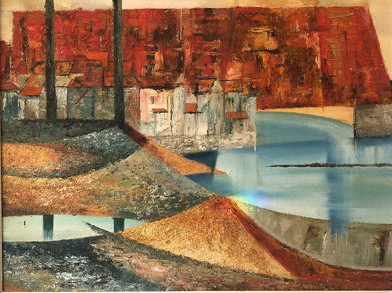 MID-CENTURY ABSTRACT HARBOUR SCENEoil on board