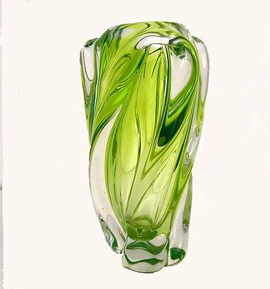 GREEN/YELLOW VINTAGE GLASS VASE