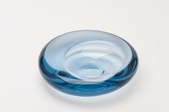 MID-CENTURY BLUE GLASS BOWL/ASHTRAY SIGNED ON BASE HOLMGAARD