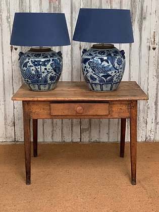 BLUE CHINESE LAMPS WITH BLUE SHADES