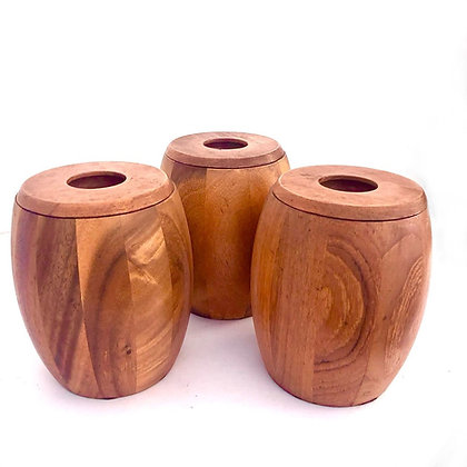 3 WOODEN STORAGE JARS WITH ACRYLIC INSETS probably 1970s