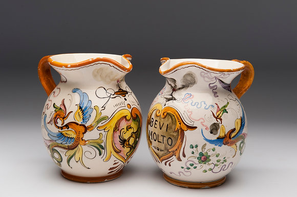 PAIR OF  CERAMIC PAINTED ITALIAN WINE JUGS circa 1960