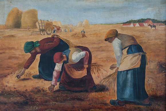 EARLY 20TH CENTURY NAIVE INTERPRETATION OF 'THE GLEANERS' by Jean-Francois Mille