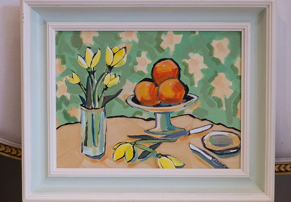Oil on canvas Oranges and Daffodils