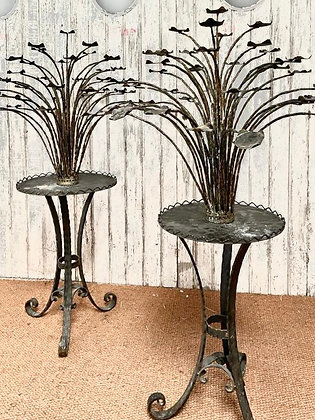 PAIR OF REED GUERIDONS WITH MULTIPLE CANDLE HOLDERS - FRENCH c1900