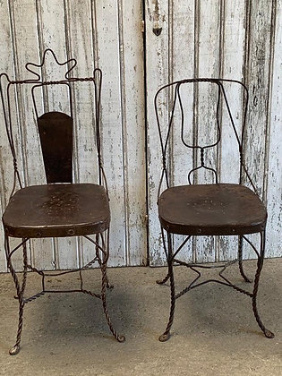 Pair of Ice Cream Parlour Metal Chairs
