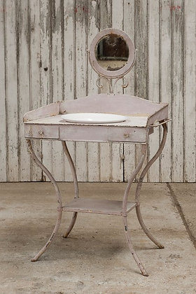 Pink Vintage Metal Washstand with Detachable Mirror