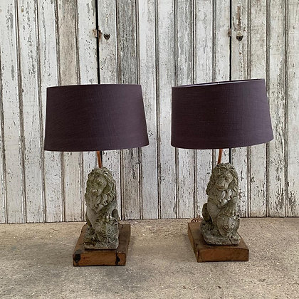 Pair of Stone Lion Table Lamps