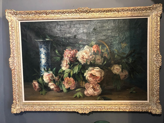 Large oil painting of peonies and blue and white vase