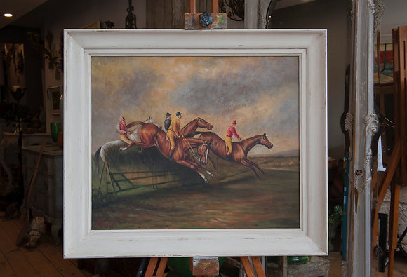 STEEPLECHASE by J Hanson - oil on canvas laid on board