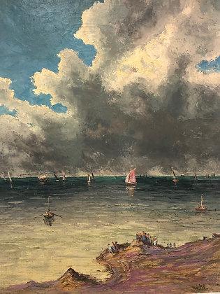 ITALIAN SEASCAPE oil on canvas 1950s