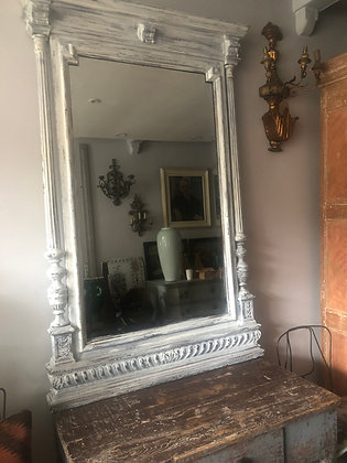 LARGE MAHOGANY VICTORIAN MIRROR WITH LATER PAINT AND BEVELLED GLASS