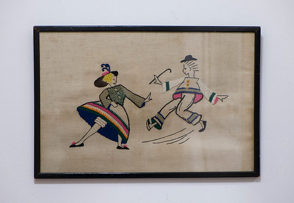 BEAUTIFULLY HAND STITCHED VINTAGE PICTURES - DANCING PAIRS
