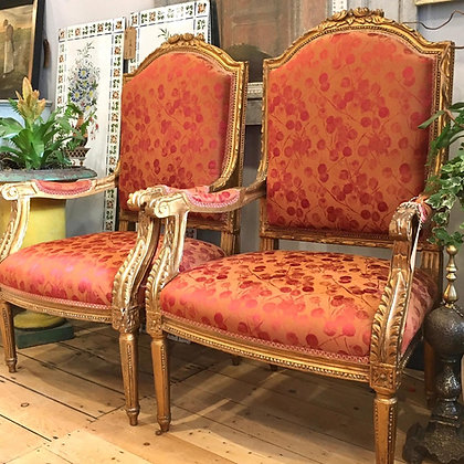 PAIR OF VINTAGE ARMCHAIRS WITH ATTRACTIVE SILK UPHOLSTERY