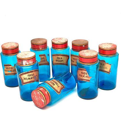 8 UNUSUAL BLUE GLASS APOTHECARY BOTTLES
