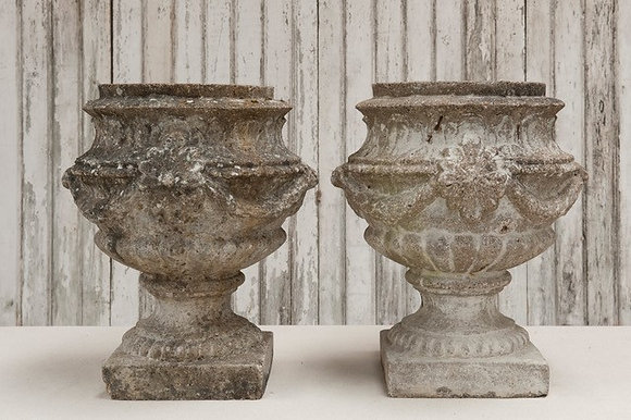 Italian Stone Urns with Swag Detail