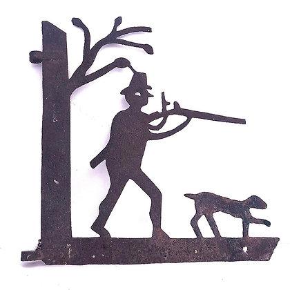 VINTAGE METAL SHOOTING MAN AND DOG SIGN