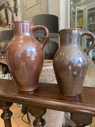 Brown French Glazed Jugs early 1900's