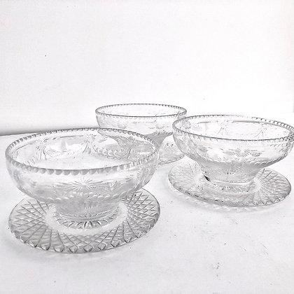 6 VINTAGE CUT GLASS COUPE BOWLS