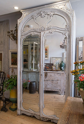 Mirrored French armoire