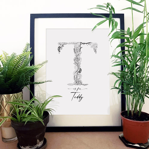 Personalised Jungle Letter Print with Name N-Z