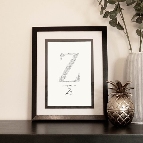 Personalised Botanical Letter Print with Name N-Z