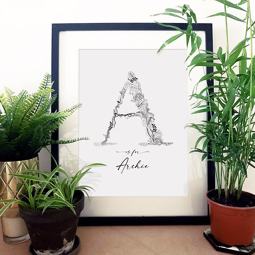 Personalised Jungle Letter Print with Name A-M