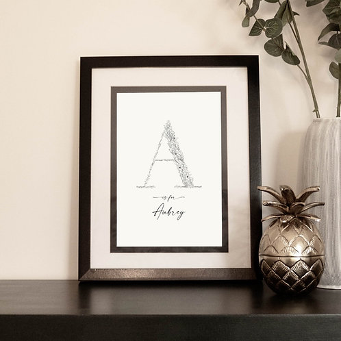 Personalised Botanical Letter Print with Name A-M