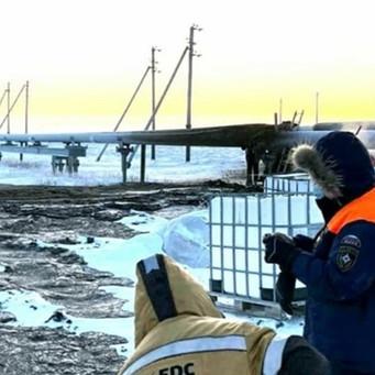 Экстремальный мороз вызвал разлив нефтесодержащей жидкости на Харьяге