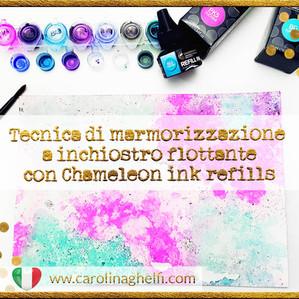 Tecnica con le ricariche d'inchiostro Chameleon: marmorizzazione a inchiostro flottante!