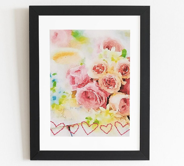 """Printed and Hand-Embroided Card - 220g - A5 """"Roses and Tea with Hearts""""-"""