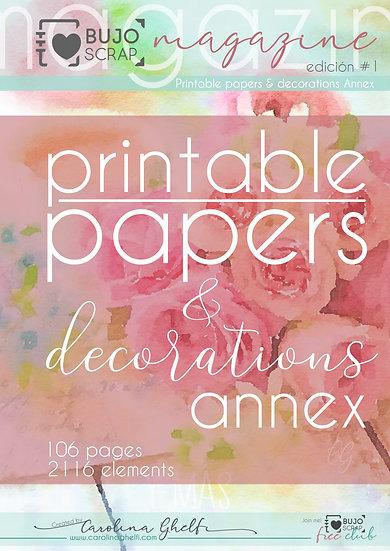 "BujoScrap Papers & Decorations - Digital Kit ""Roses and Tea""  100+ A4 printables"