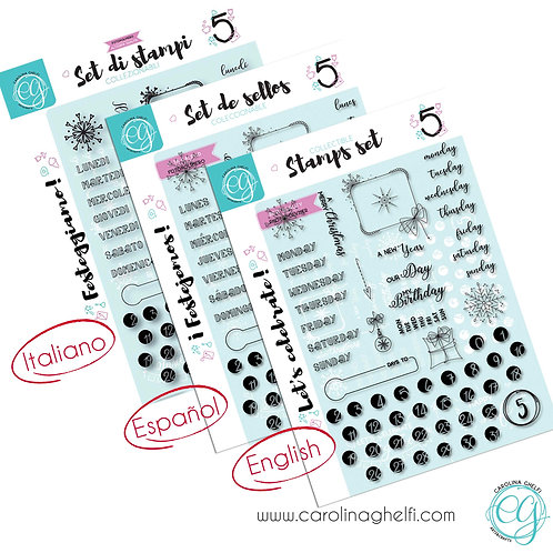 Set of 60 Clear Stamps - Let's Celebrate- A5+ - Collectible ♥ CG