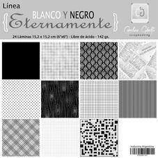 MILA6 - Pack de láminas 6x6 (15,2cm) LINEA ETERNAMENTE  BLANCO Y NEGRO